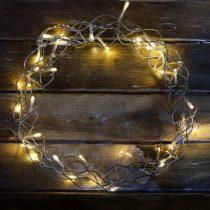 Fénykoszorú dekoráció (átlátszó kábeles, meleg fehér)