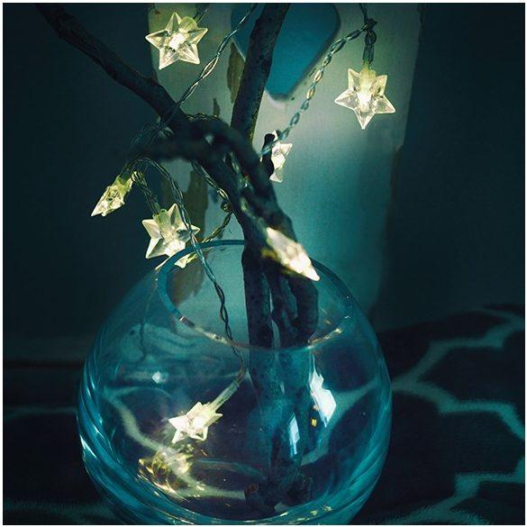 Csillagfüzér dekoráció (átlátszó kábeles, meleg fehér)