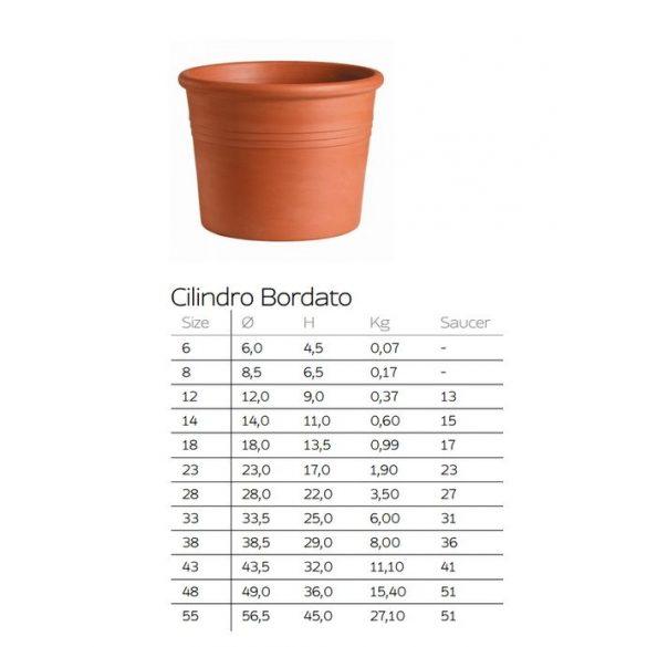 Cilindro Bordato cilinderes agyagcserép
