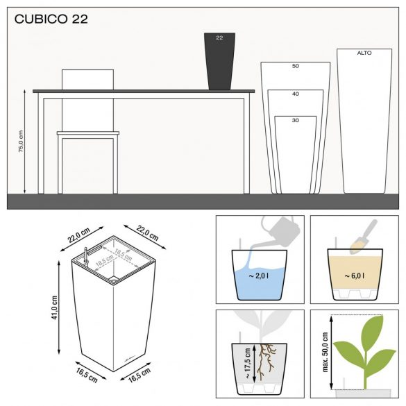 Lechuza Cubico Premium kaspó önöntözővel