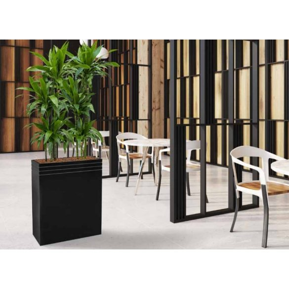 Line-Up Rectangle Planter Matt Black – 2 betéttel