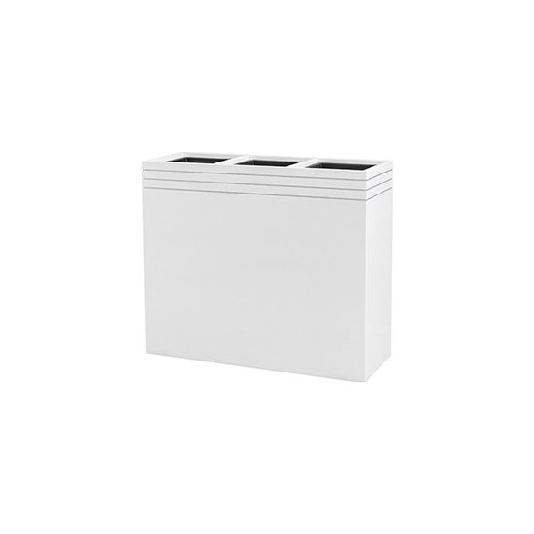 Line-Up Rectangle Planter Matt White – 3 betéttel