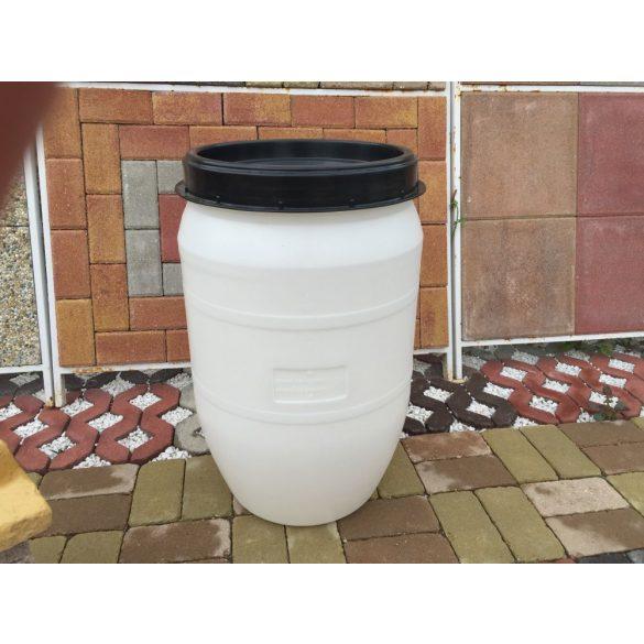 Vastagfalú műanyag hordó 120 Literes Fehér
