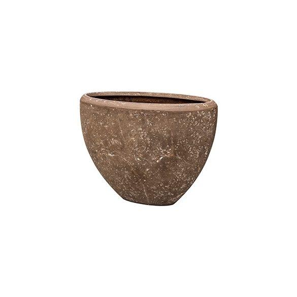 Polystone Rock Oval Plain kaspó