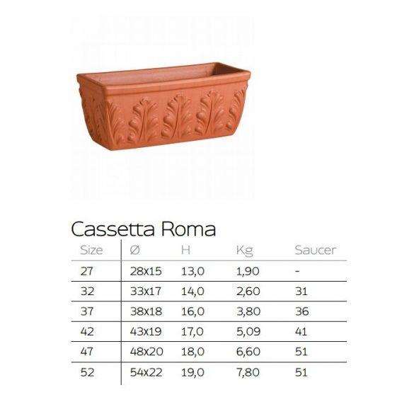 Casetta Roma római agyag balkonláda 2 méretben